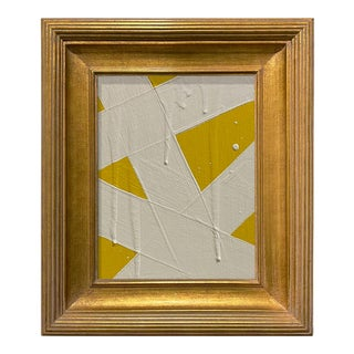 Ron Giusti Mini Abstract Yellow and Cream Acrylic Painting, Framed For Sale