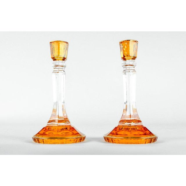Mid 20th Century Mid Century Italian Art Glass Candlesticks - a Pair For Sale - Image 5 of 5