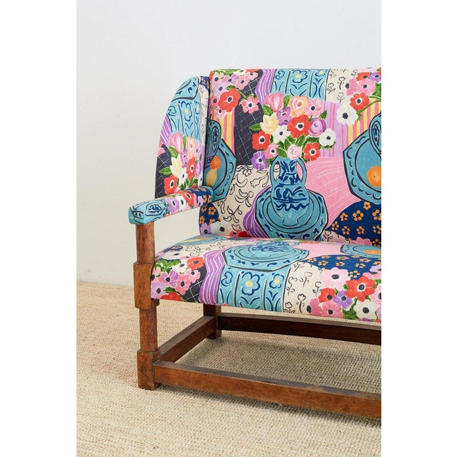 Blue Antique English Winged Settee With Floral Upholstery For Sale - Image 8 of 13