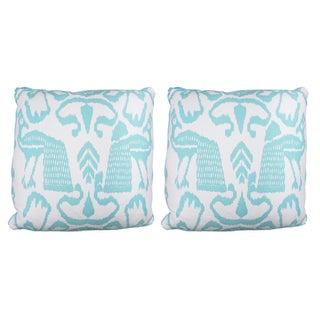 Aqua Bali Isle Linen Pillows- a Pair
