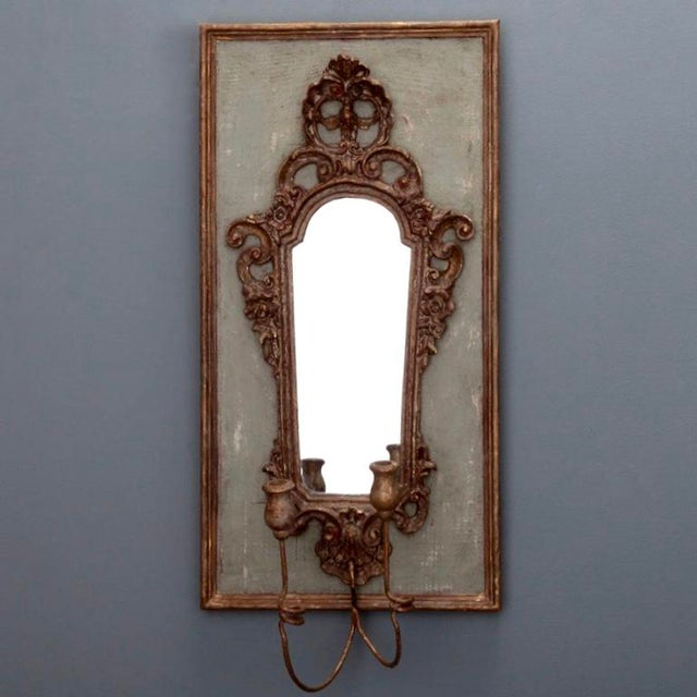 Pair 19th Century Italian Sconces With Carved Mirror and Gesso Frames - Image 2 of 10