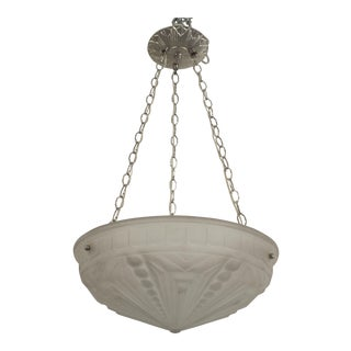 French Art Deco (Circa 1925) Round Pendant Form Frosted Glass Bowl Form Chandeliers