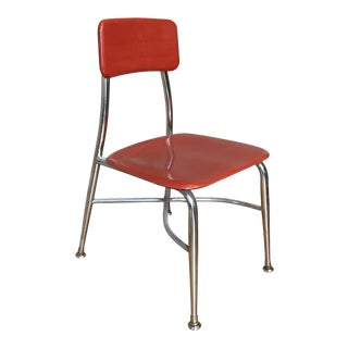 Heywood-Wakefield Child's Red and Chrome School Chair For Sale