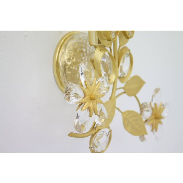 White Pair of Wall Sconces Crystal Glass and Brass by Faustig Germany, 1970s For Sale - Image 8 of 10