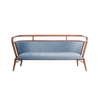 Contemporary Mid Century Style Scandinavian Modern Walnut Sofa For Sale