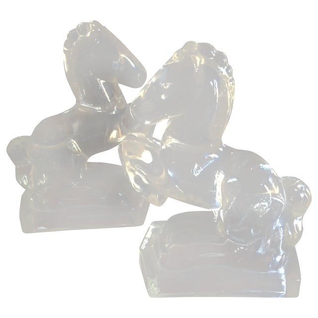 Vintage Clear Glass Horse Bookends - A Pair - Image 1 of 7
