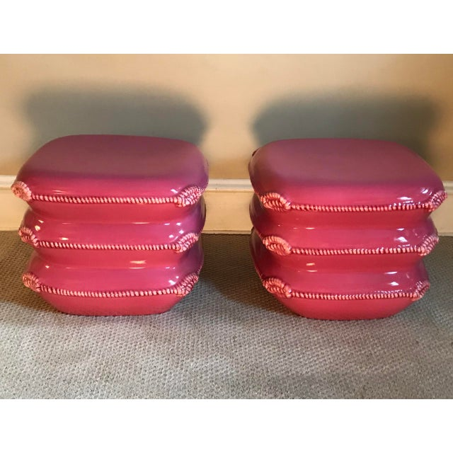 Dark Pink Pair of Vintage Italian Ceramic Pillow Stack Stools or Tables by Marioni For Sale - Image 8 of 9