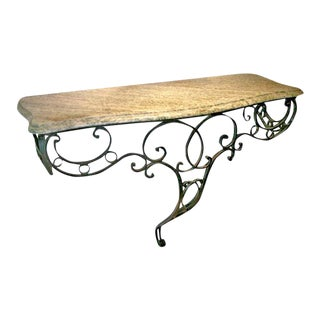 Elegant French Iron Console With Green Marble For Sale
