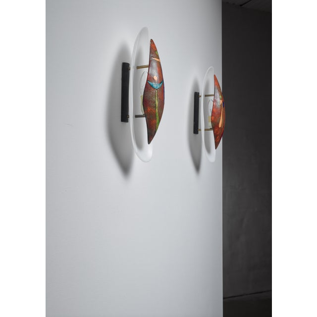1960s Pair Italian Wall Appliques With Figurative Enamel For Sale - Image 5 of 6