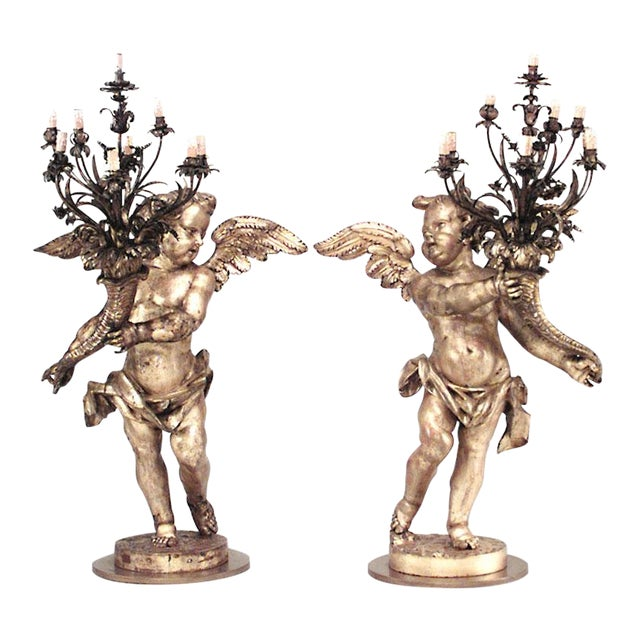 Pair of French Louis XV Style, 19th Century Gilt Cupid Torchiere For Sale