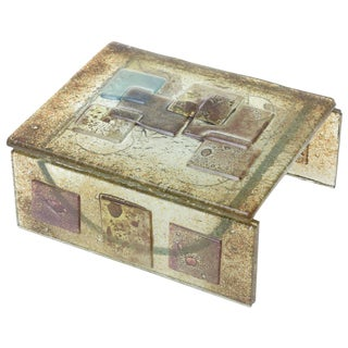 1950s Vintage Higgins Style Glass Sculptural Box For Sale
