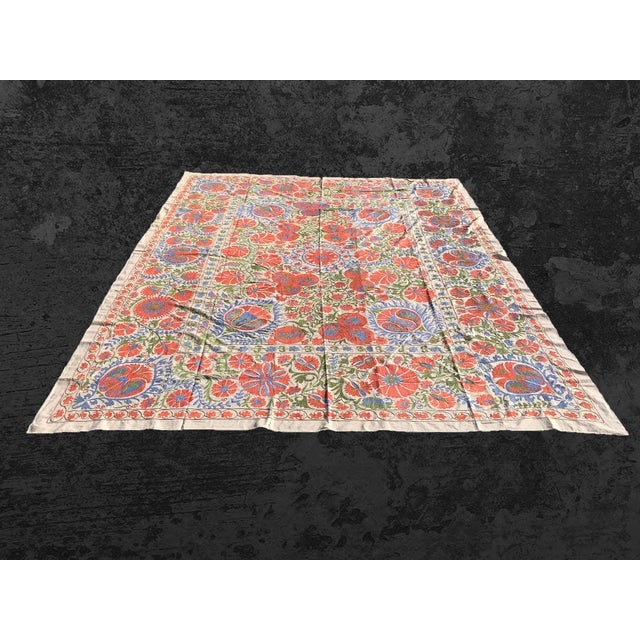 Red Handmade Suzani Pastel Floral Grand King Size Bedspread - 8' X 10' For Sale - Image 8 of 10