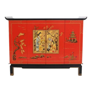 20th Century Chinoiserie Black Lacquer Two-Tone Cabinet Bachelor Chest For Sale