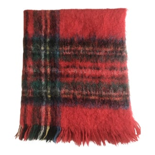 Vintage Australian Mohair Plaid Blanket For Sale
