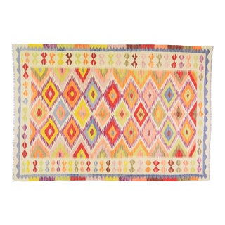 "Vintage Afghan Hand Made Organic Wool Maimana Kilim,5'8""x8'2"" For Sale"