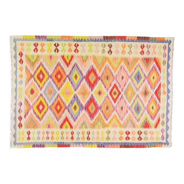 "Vintage Afghan Hand Made Organic Wool Maimana Kilim,5'8""x8'2"" For Sale"