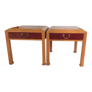 Pair 70s Vintage Hekman Side End Accent Table With Drawer Two Tone For Sale