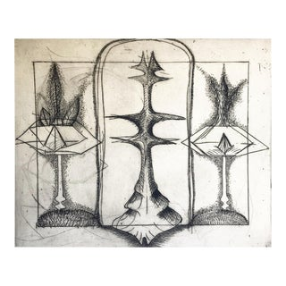 Mid-Century Abstract Etching For Sale