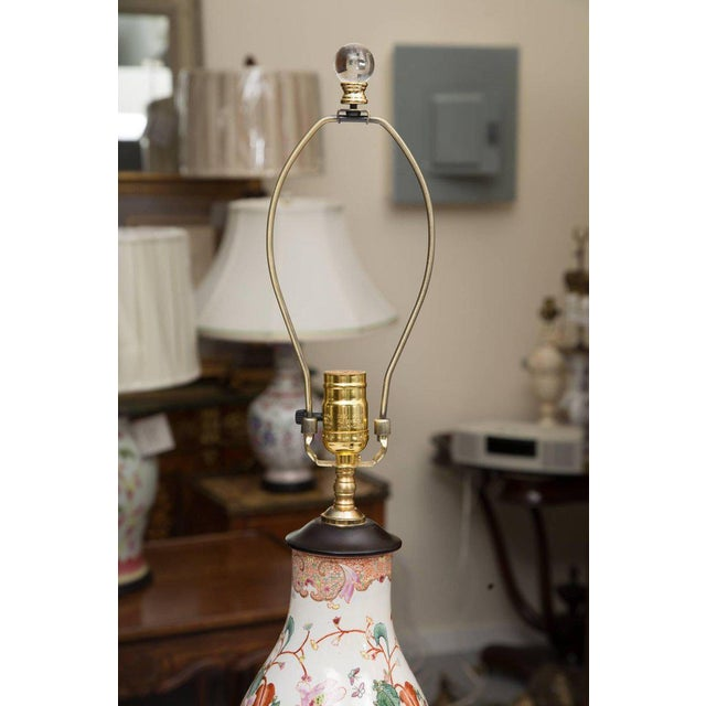 French Gourd Shaped Table Lamps with Floral Designs For Sale - Image 3 of 9