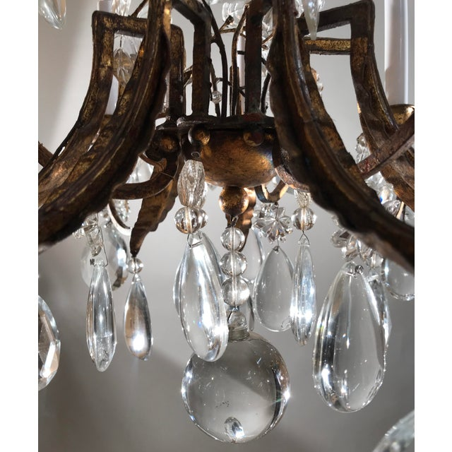 Crystal 1930 French Gilt Tole & Crystal Chandelier For Sale - Image 7 of 11