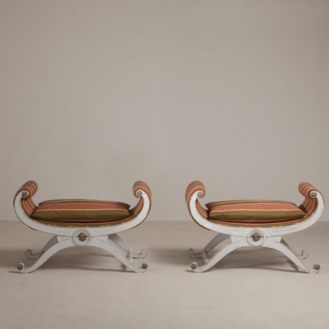 A Matched Pair of Large Swedish Empire Style Stools circa 1970 reupholstered by Talisman