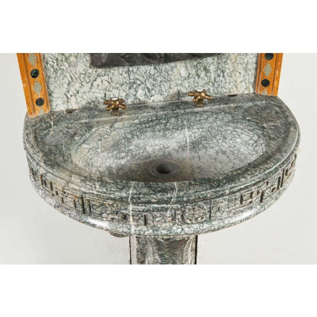 19th Century French Marble Fountain with Iron Dolphin & Mosaic Decor For Sale In Dallas - Image 6 of 10