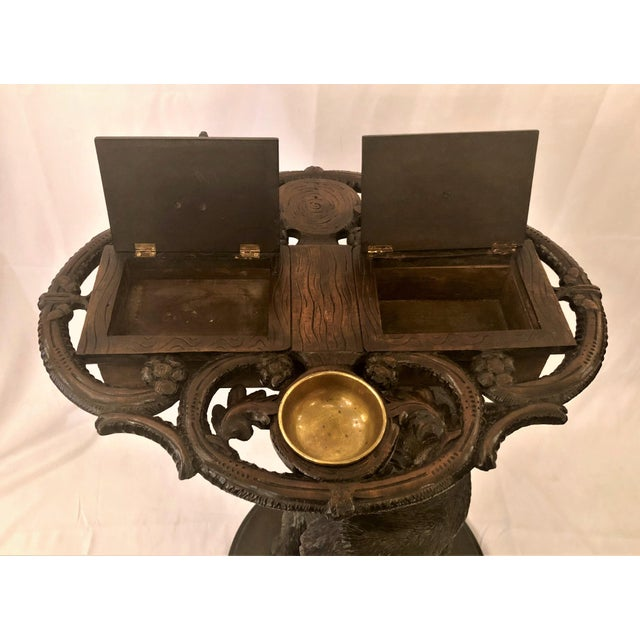 Antique Black Forest Carved Oak Smoker's Stand, Circa 1880. For Sale - Image 4 of 7