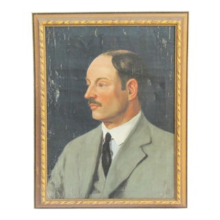 Mid Century Portrait of Man in Gray Suit For Sale