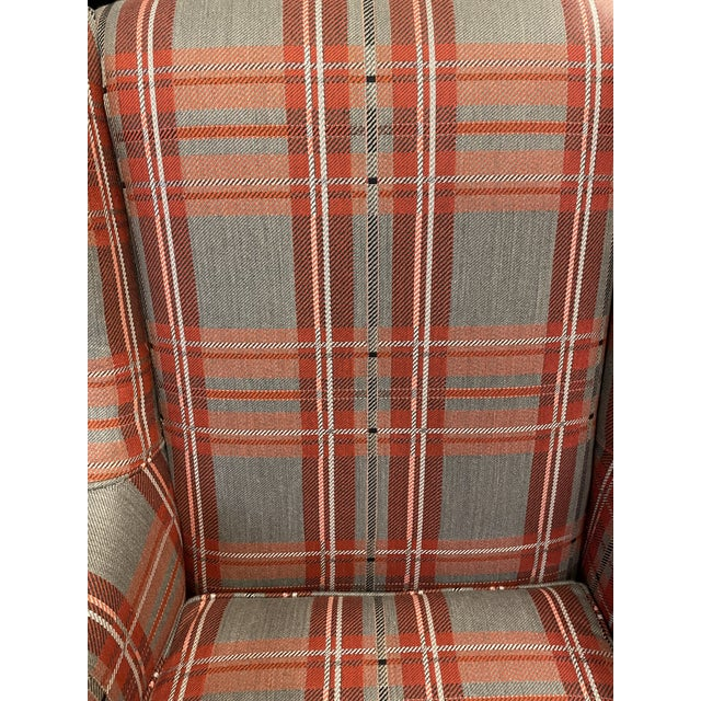 French Antique Plaid Wingback Chair For Sale - Image 3 of 6