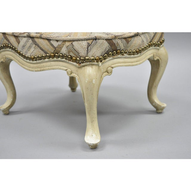 Textile Petite French Provincial Louis XV Style Cream Painted Ottoman Small Footstool For Sale - Image 7 of 12