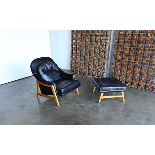 Animal Skin Edward Wormley for Dunbar Leather Lounge Chair and Ottoman Circa 1957 For Sale - Image 7 of 13