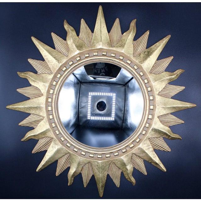 Vintage Golden Gilt Convex Sunburst Mirror For Sale - Image 10 of 11