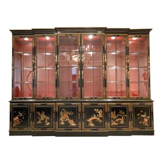 10 Ft. Union National Illuminated Double Breakfront Chinoiserie Asian Cabinet For Sale