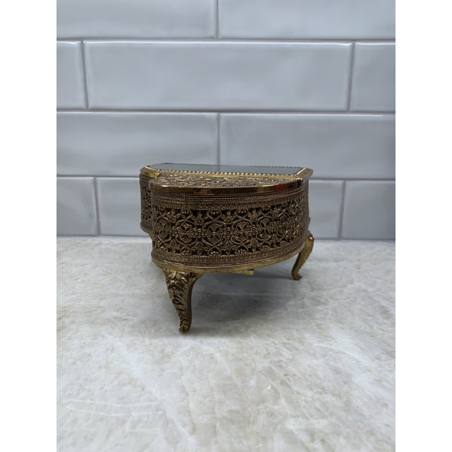 Vintage Brass Filigree Piano-Shaped Jewelry Music Box For Sale In Houston - Image 6 of 11