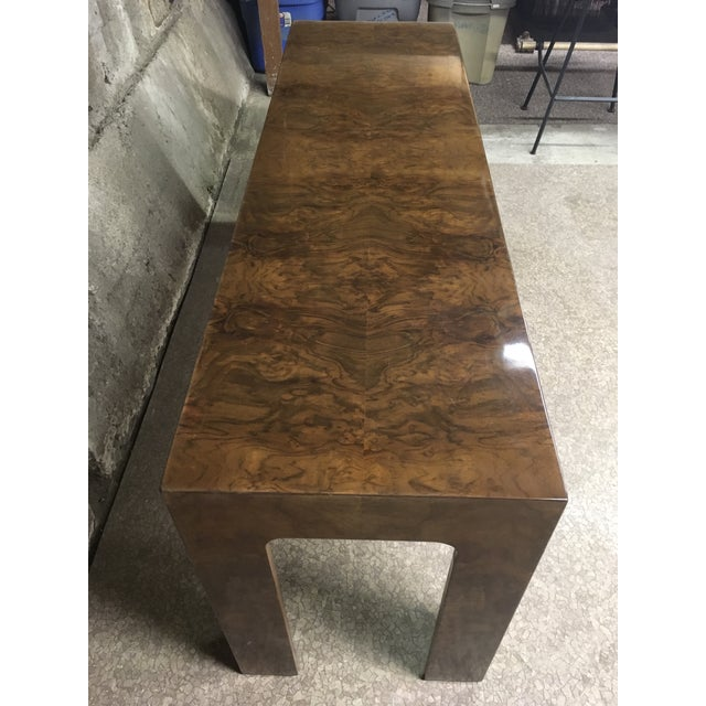 1970s 1970s Burlwood Console Table For Sale - Image 5 of 11