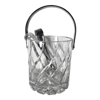 Traditional Vintage Mid-Century Mikasa Olympus Cut Crystal Ice Bucket and Tongs Bar Kitchen Serving Ware For Sale