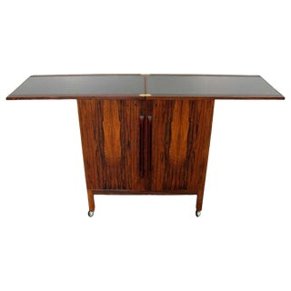 Mid Century Modern Rosewood Flip Top Bar Cart Torbjorn Adfal Bruksbo Danish 60s For Sale