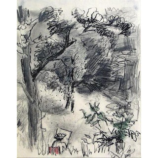Artist in the Park With Easel 1940-60s Colored Pencil & Graphite Drawing For Sale