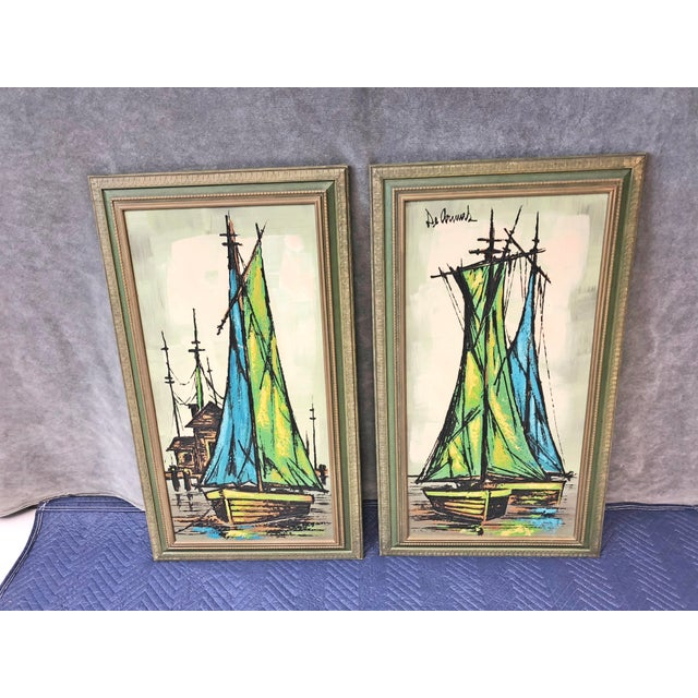 Mid Century Modern Green Sailboat Signed and Framed Prints - a Pair For Sale - Image 10 of 10