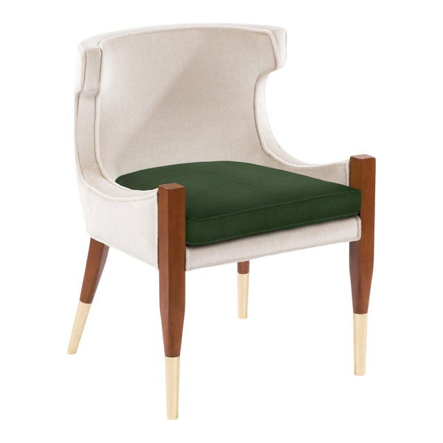 Vaughn Side Chair in Cream Mohair For Sale