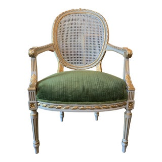 Early 20th Century Louis XVI Fauteuil Armchair With Caned Medallion Back For Sale