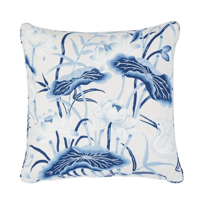 Schumacher Lotus Garden Pillow in Porcelain For Sale In Charlotte - Image 6 of 6