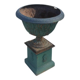 Large Green Antique Iron Garden Urn with Base