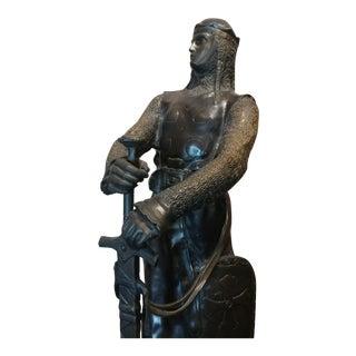 Maurice Favre - Crusader Warrior w/Sword & Shied- French Bronze Sculpture