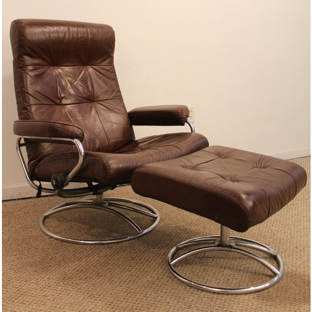 ekornes stressless mid century danish modern leather chrome recliner