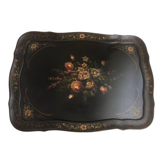 Black Lacquer Hand Painted Inlay Tea Table Tray Top For Sale