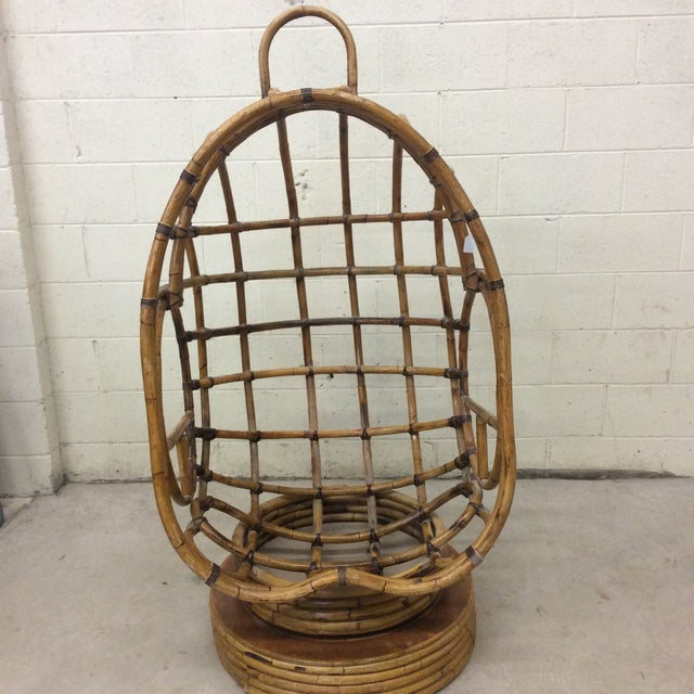 Groovy 70s Bamboo Egg Swivel Chair For Sale - Image 10 of 12