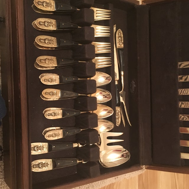 Asian Mid Century Brass and Rosewood J. Thailand Flatware Set 28 Pieces For Sale - Image 3 of 12