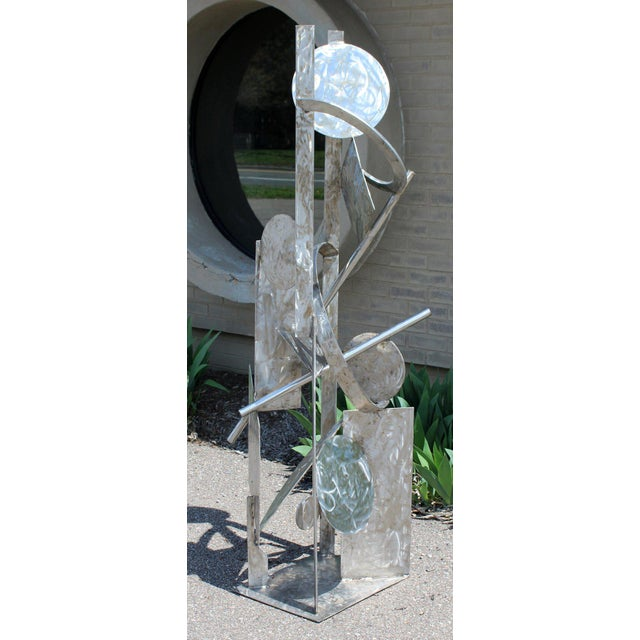 For your consideration is a marvelous, abstract, stainless steel metal outdoor or indoor floor sculpture, signed by artist...