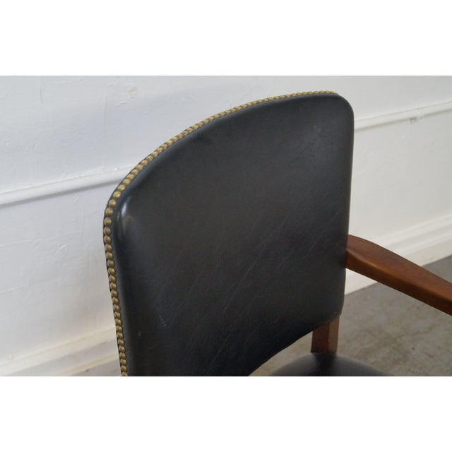 Gunlocke Traditional Black Office Arm Chairs - A Pair - Image 3 of 10